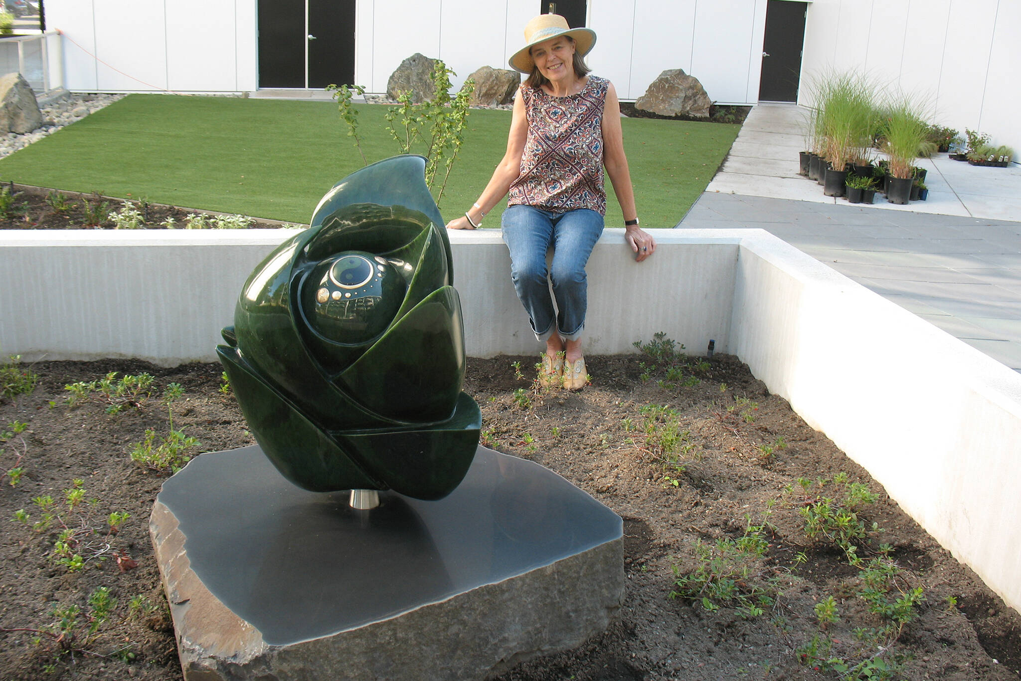 Vernon's Deborah Wilson created a giant jade sculpture at a Victoria complex, which took 16 months to create. (Contributed)